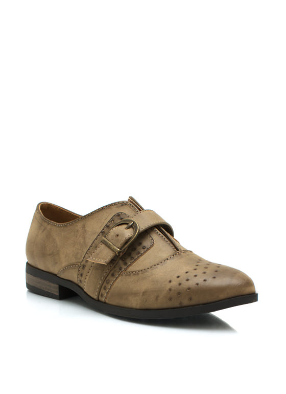 Burnished Buckled Oxfords TAUPE