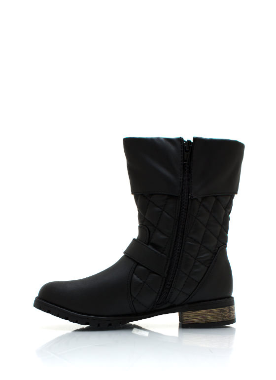 Quilted Moto Boots BLACK