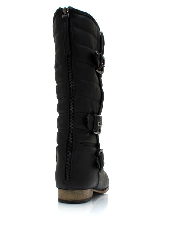 Triple Buckle Faux Leather Boots BLACK