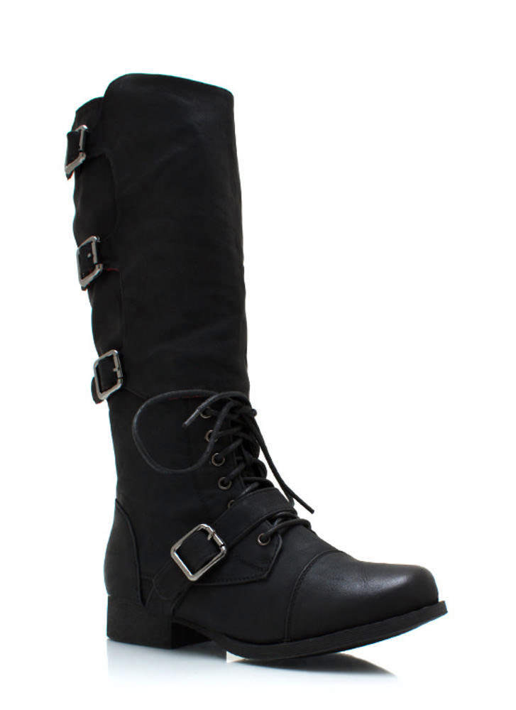Buckling Up Faux Leather Boots BLACK