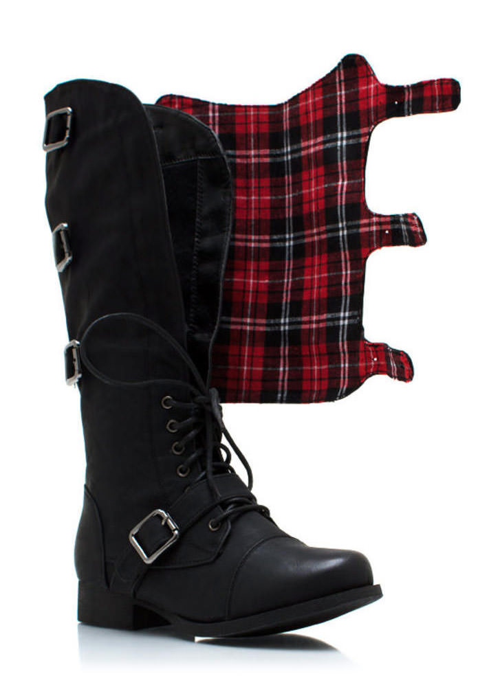 Buckling Up Faux Leather Boots BLACK (Final Sale)