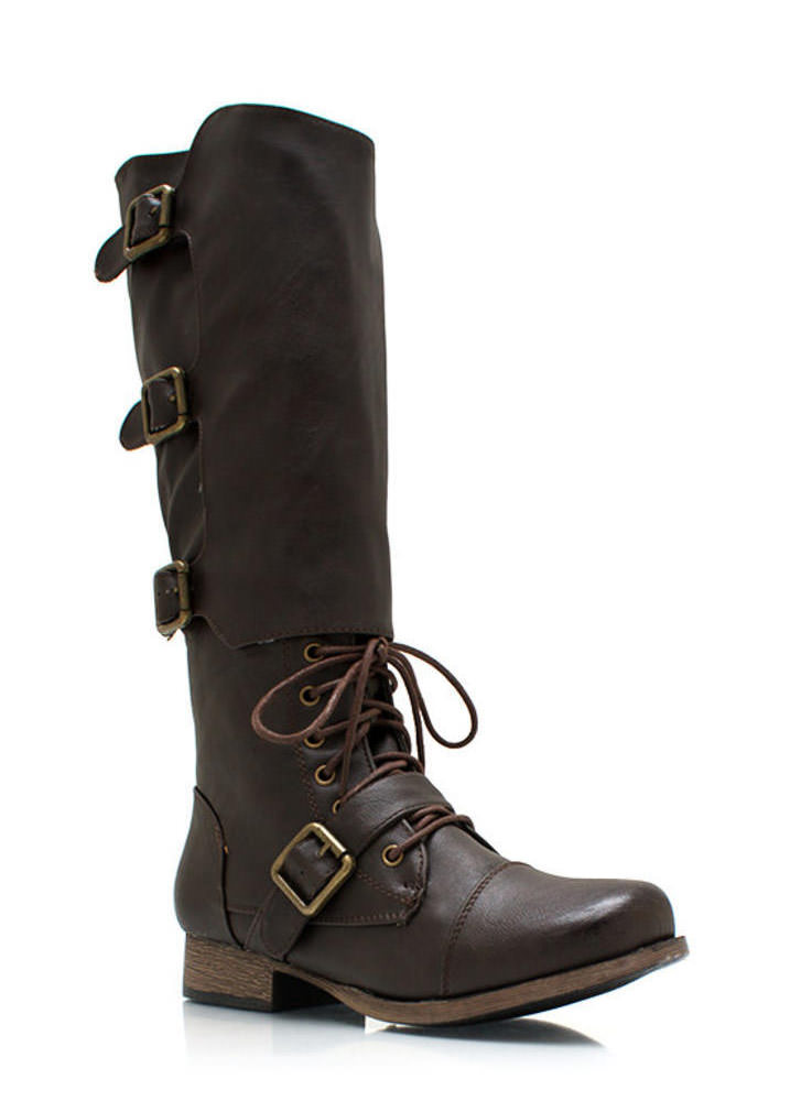 Buckling Up Faux Leather Boots BROWN
