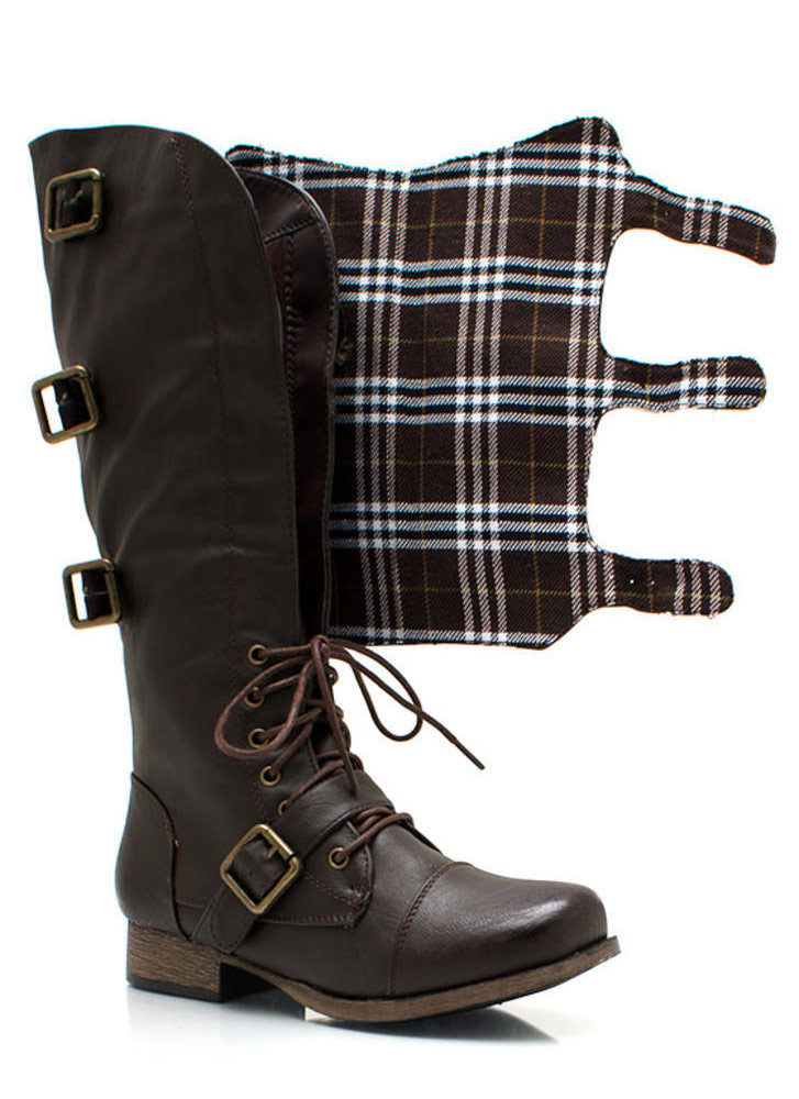 Buckling Up Faux Leather Boots BROWN (Final Sale)