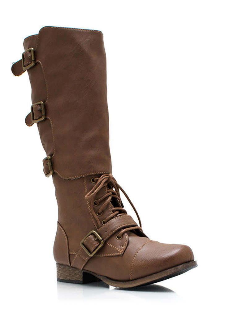 Buckled Up Faux Leather Boots TAUPE