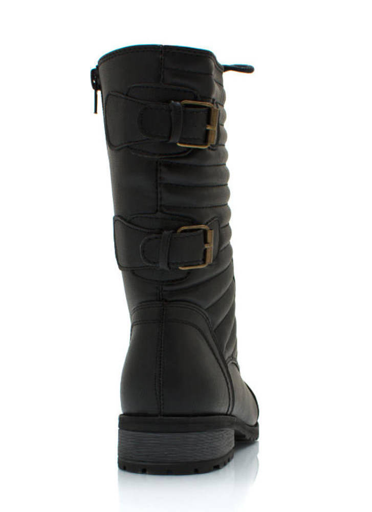 Double Trouble Buckled Combat Boots BLACK