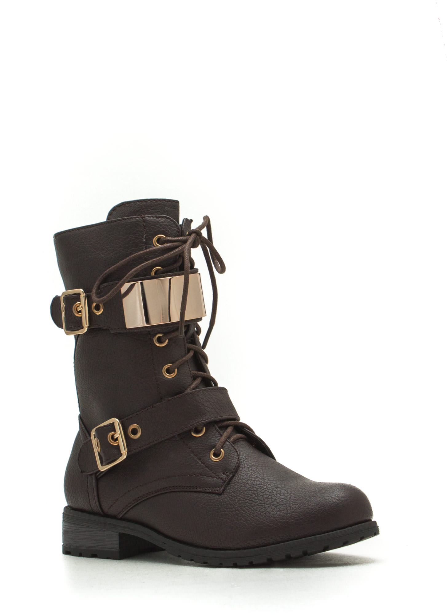 Do Not Metal With Me Textured Combat Boots BROWN