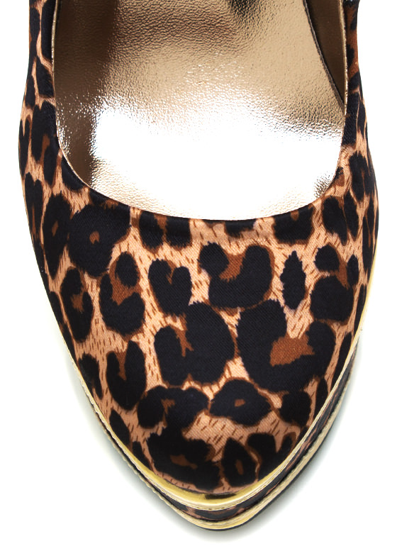 Metallic Accent Leopard Platform Pumps CAMEL