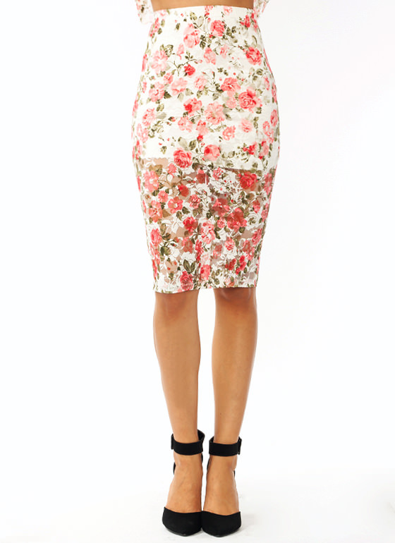 Flower Child Lace Pencil Skirt IVORYPINK