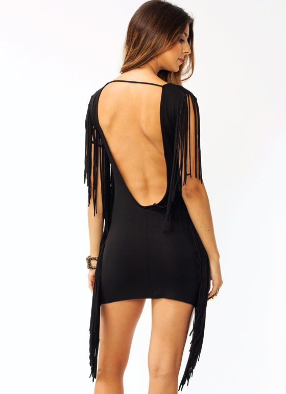Fringed N Fresh Dress BLACK