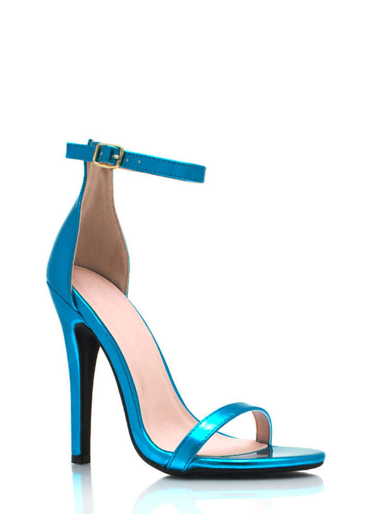 Metallic Faux Leather Heels BLUE