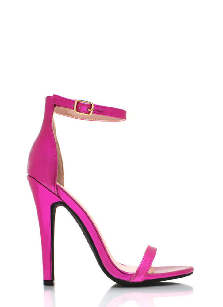 Metallic Faux Leather Heels FUCHSIA