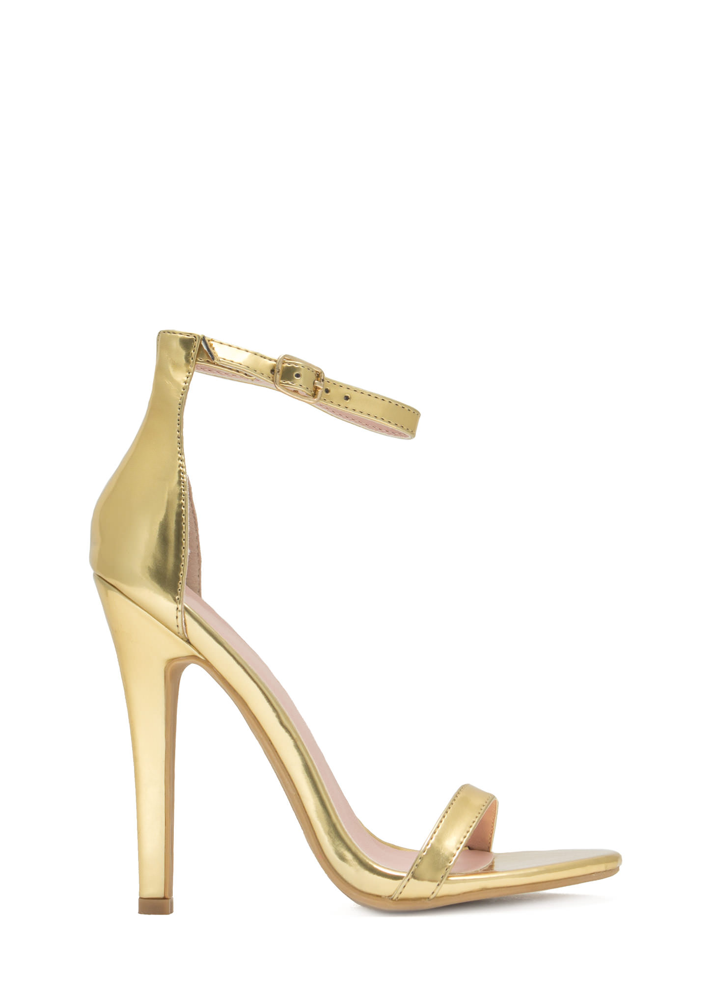 Metallic Faux Leather Heels GOLD
