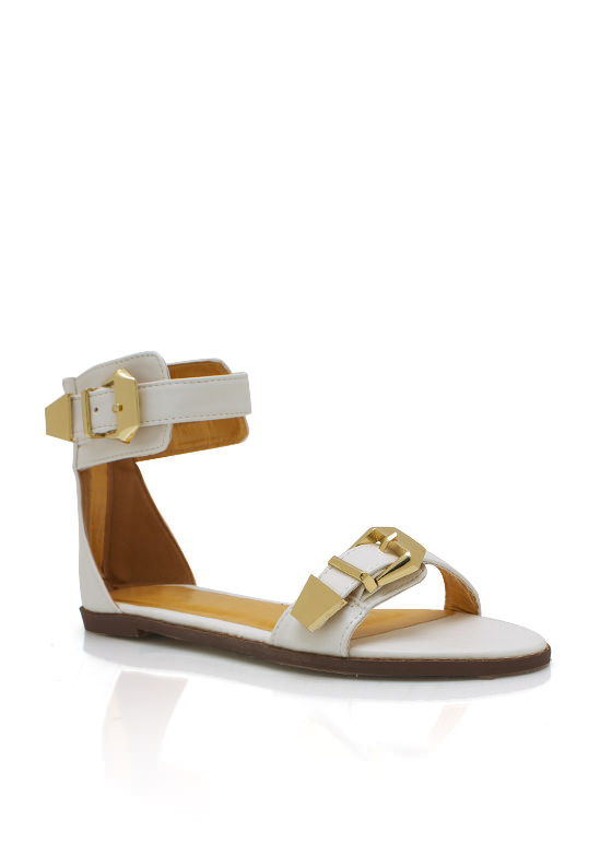 Double Buckle Sandals WHITE (Final Sale)
