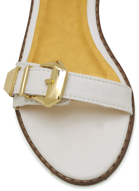 Double Buckle Sandals WHITE