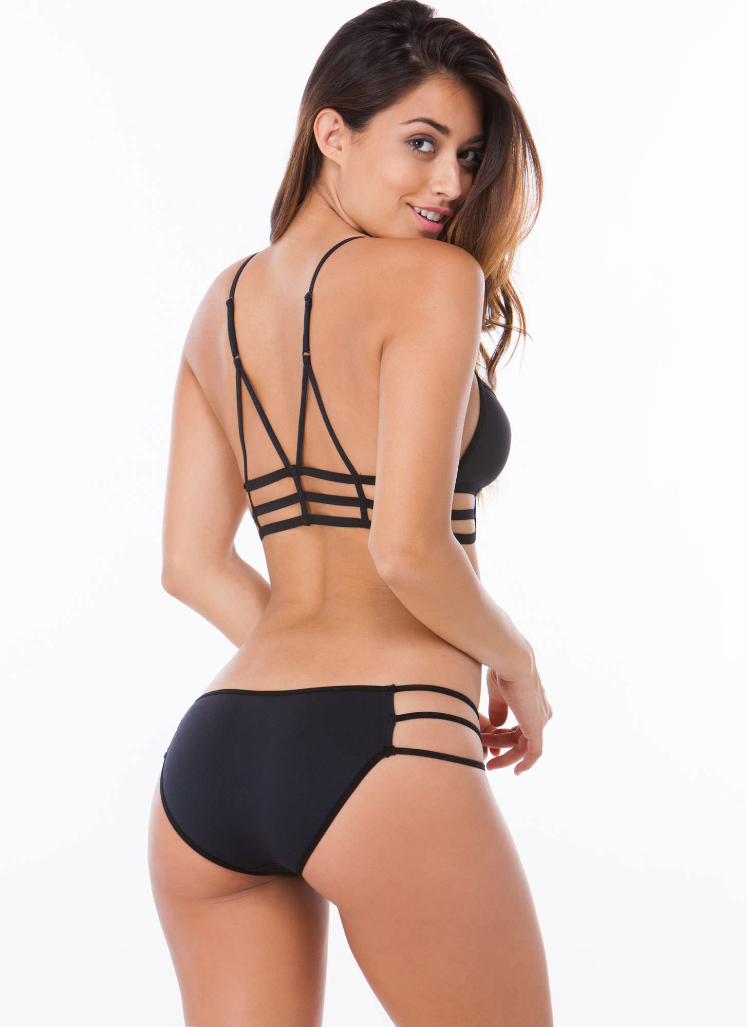 Caged Bra And Panty Set BLACK (Final Sale)