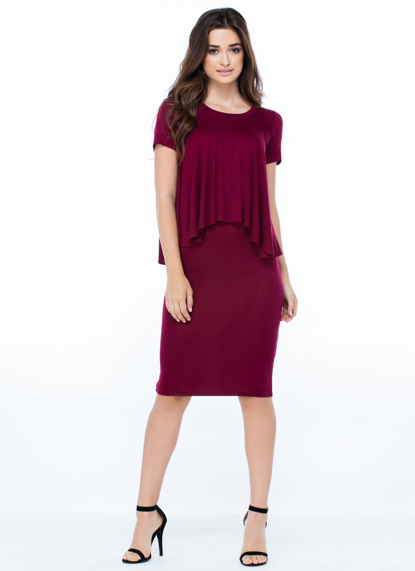 Anywhere Anytime Pencil Skirt BURGUNDY