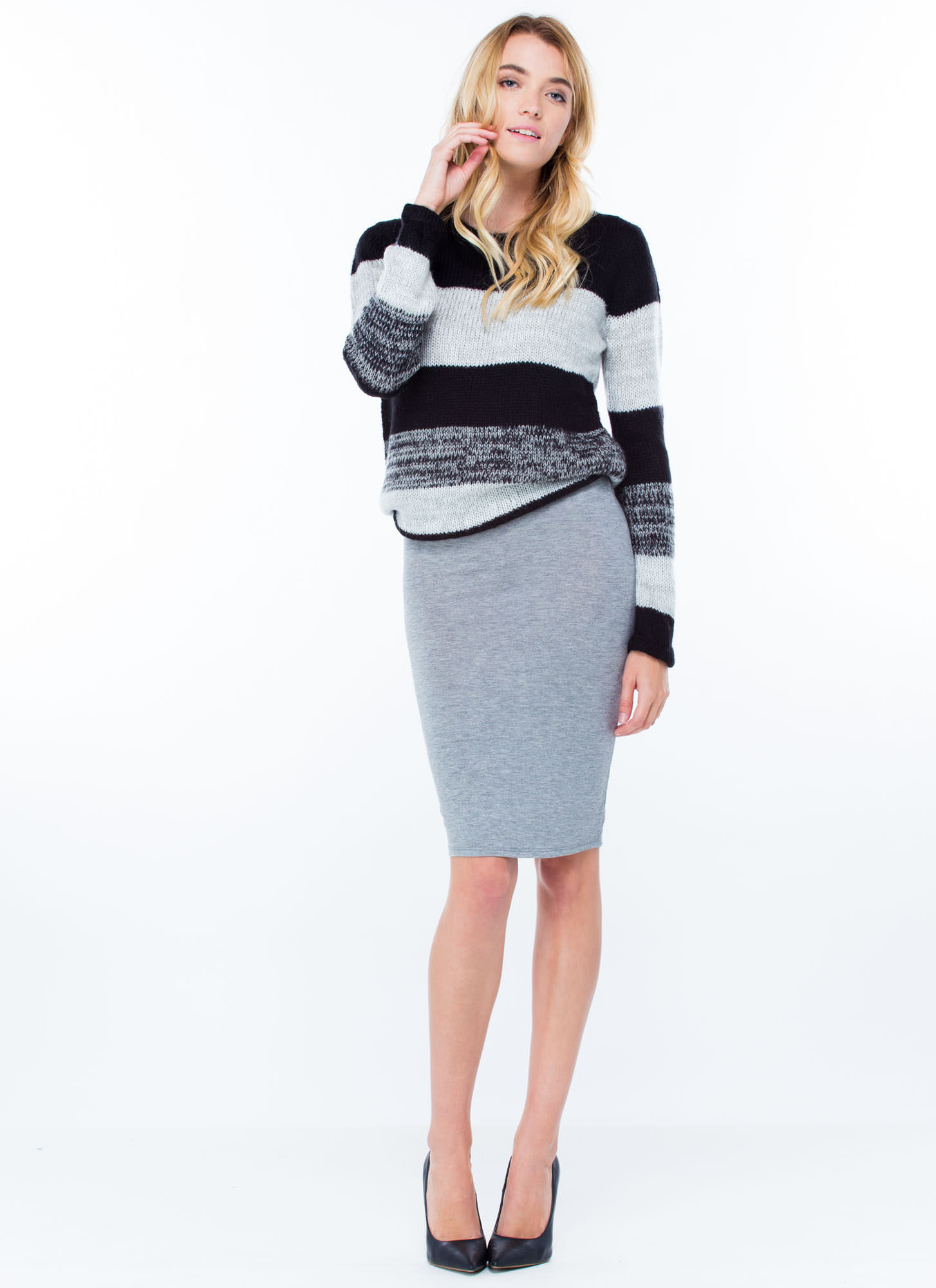 Anywhere Anytime Pencil Skirt HGREY