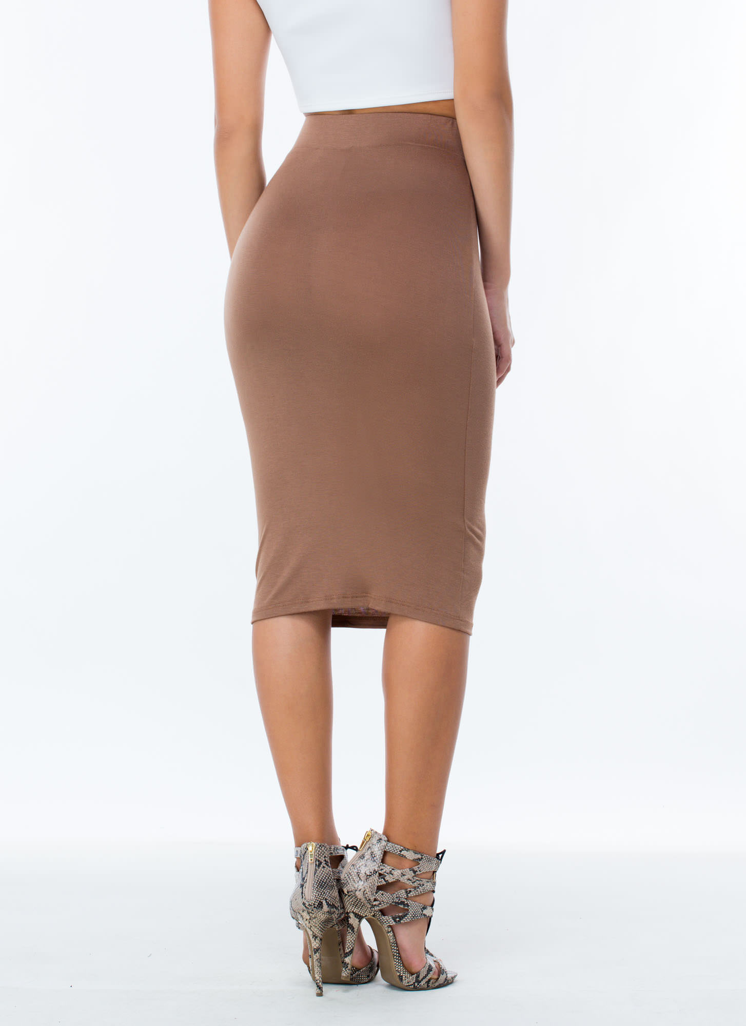 Anywhere Anytime Pencil Skirt MOCHA