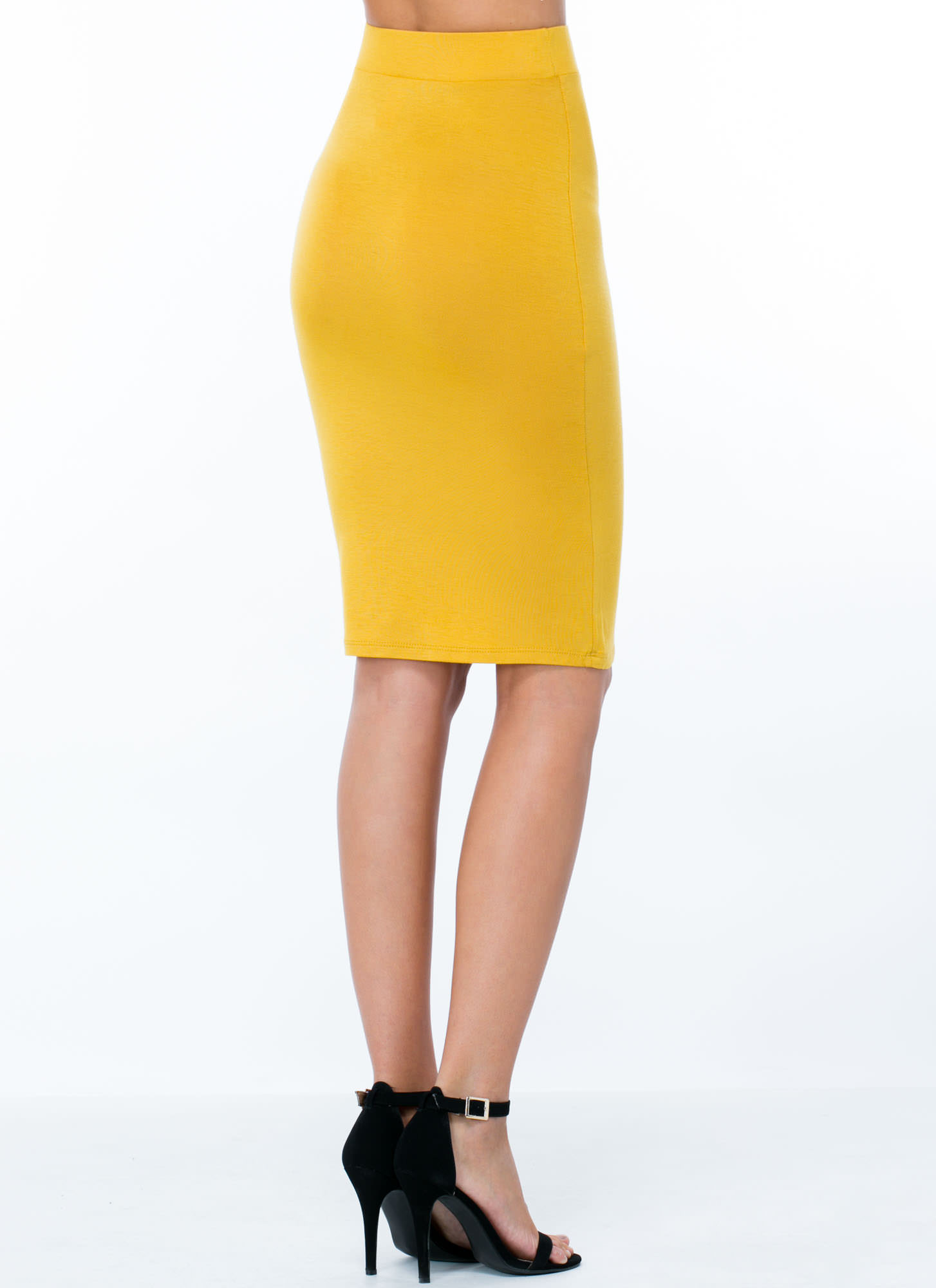 Anywhere Anytime Pencil Skirt MUSTARD