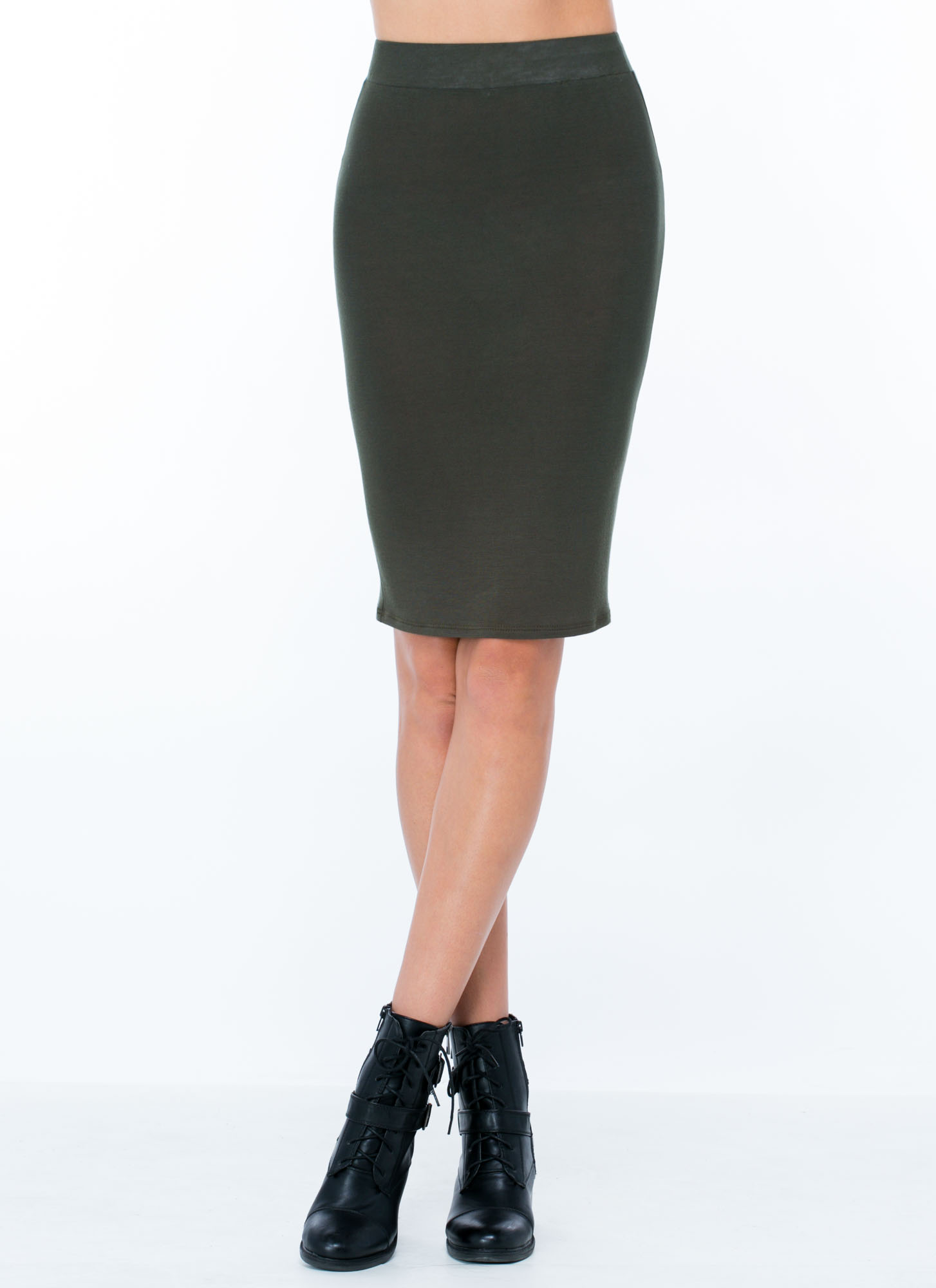 Anywhere Anytime Pencil Skirt OLIVE