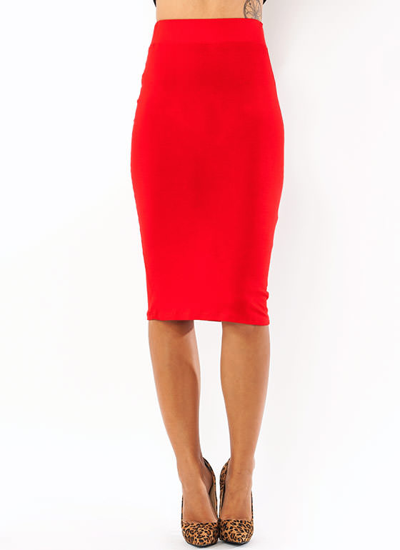 Anywhere Anytime Pencil Skirt RED