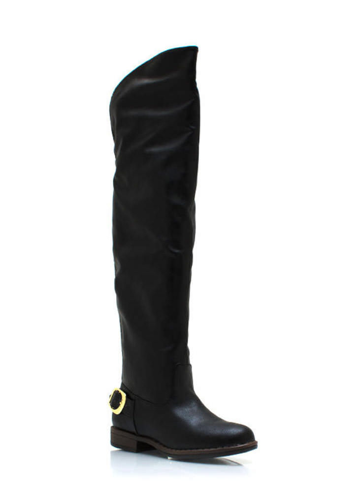 Buckle Back Riding Boots BLACK