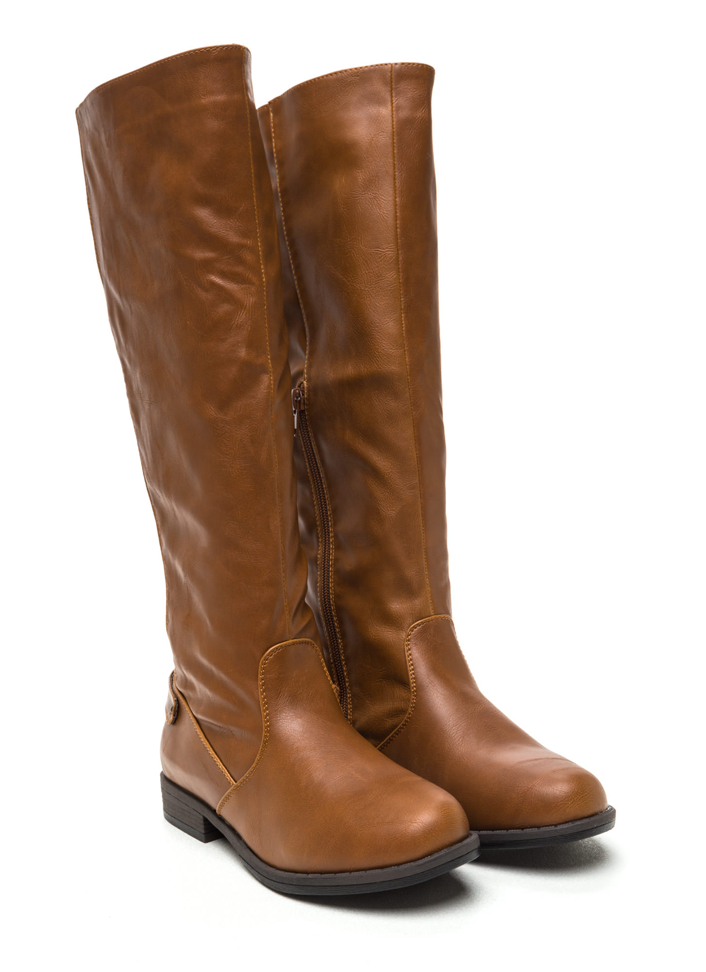 Daily Wear Faux Leather Riding Boots CHESTNUT