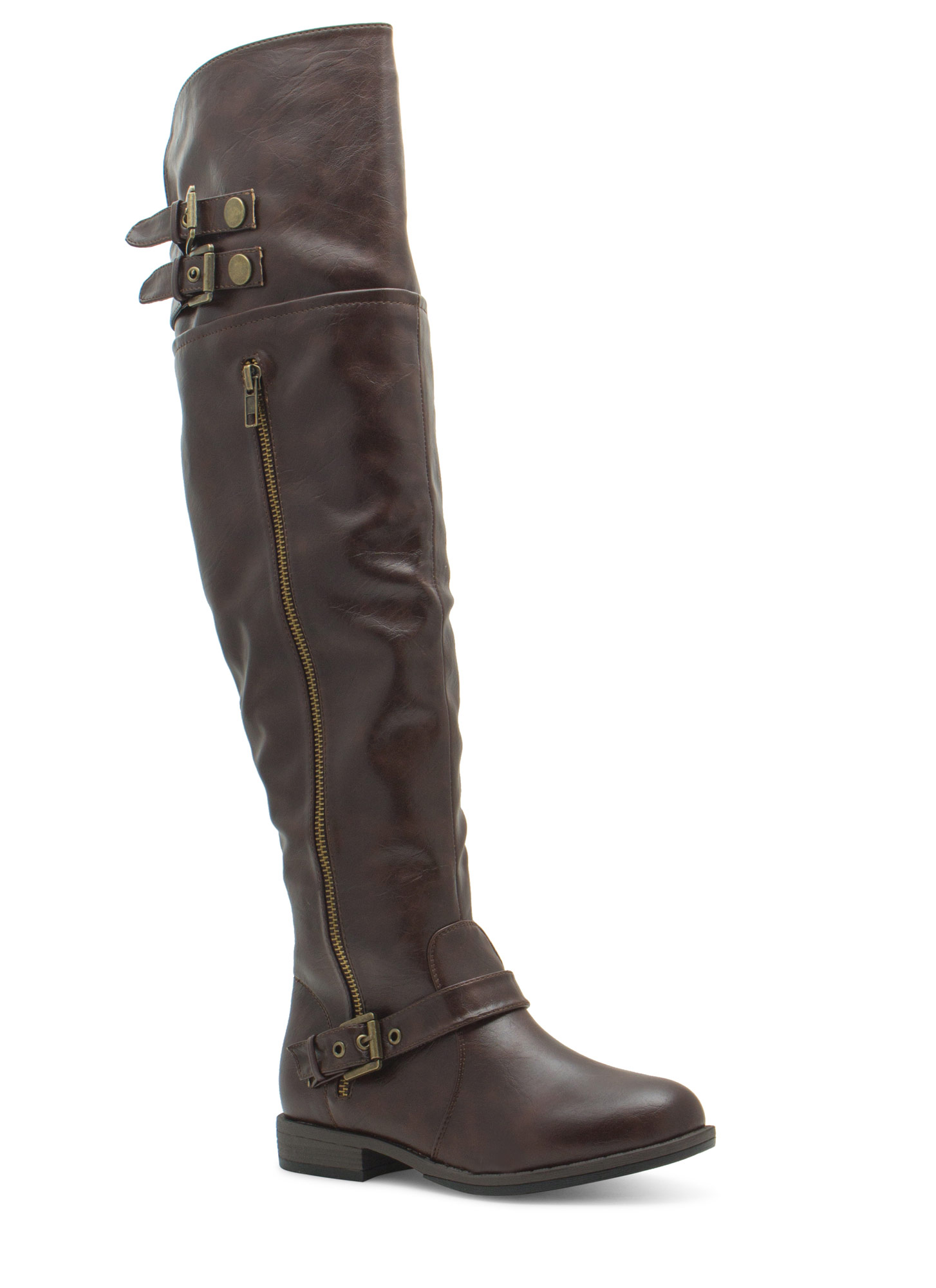 Tri Buckle Riding Boots BROWN