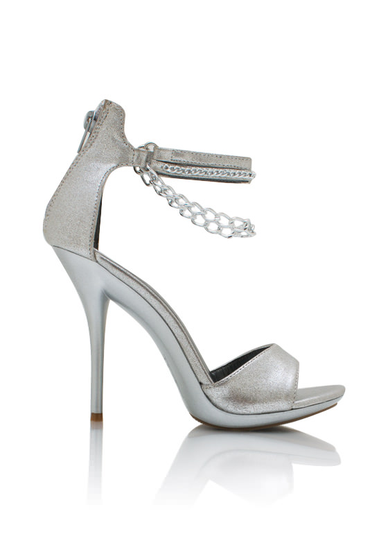 2 Chains Shimmery Heels SILVER