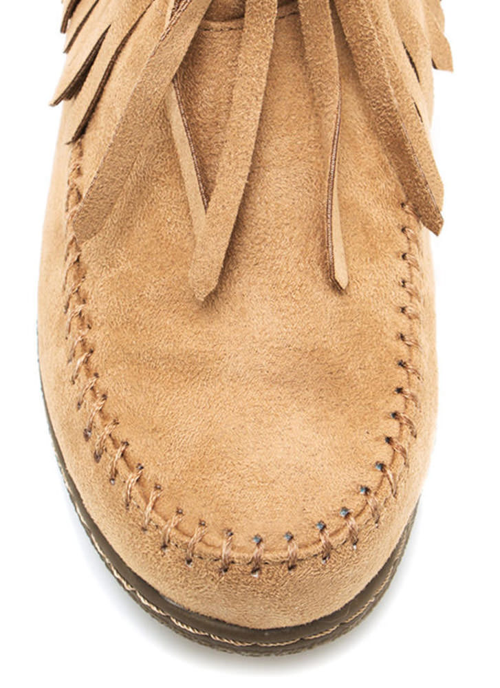 Do Not Mock Me Fringe Booties CAMEL