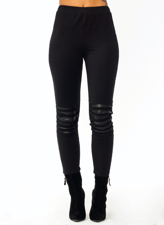 Slashed Leggings BLACK