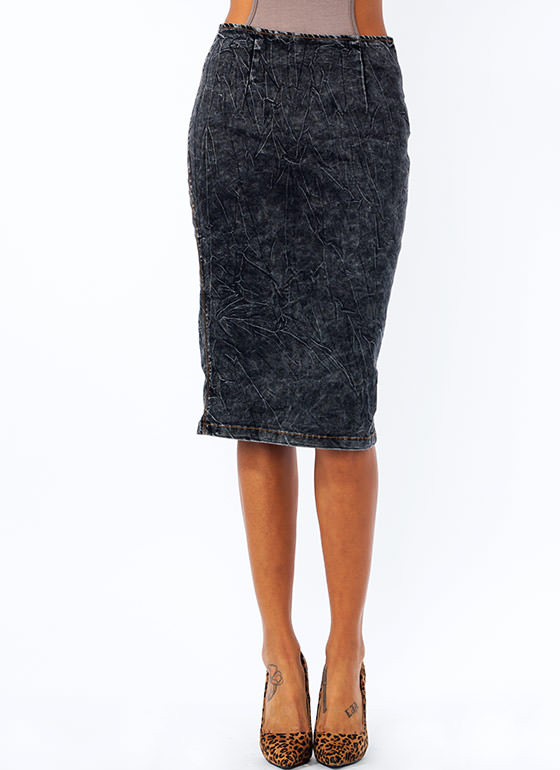 Denim Pencil Skirt BLACKACID