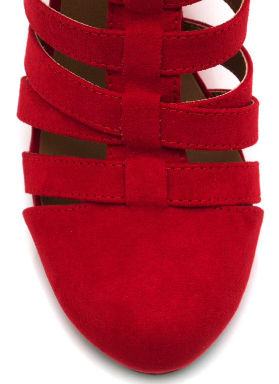 Laddered Faux Suede Wedges RED