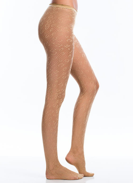 Wild Child Leopard Fishnet Stockings BEIGE (Final Sale)