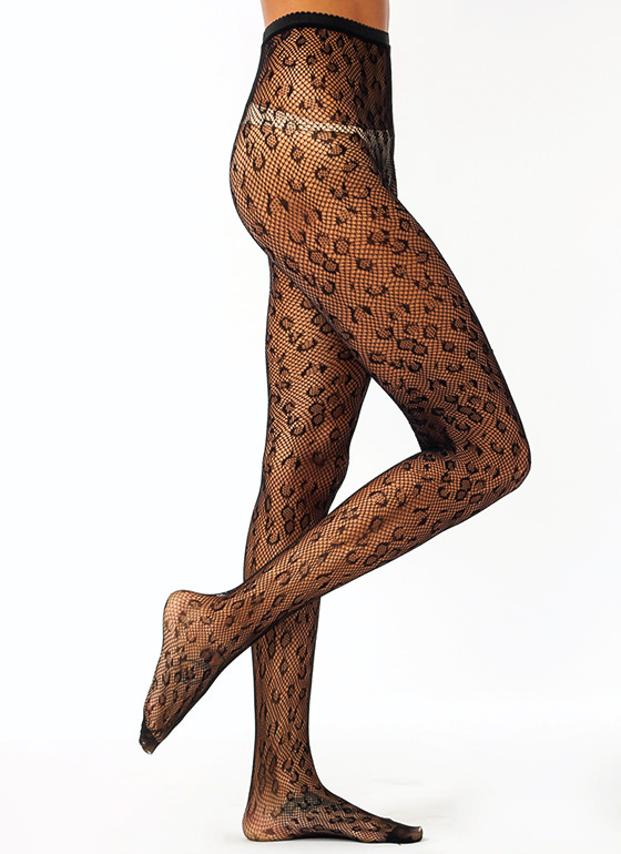 Wild Child Leopard Fishnet Stockings BLACK