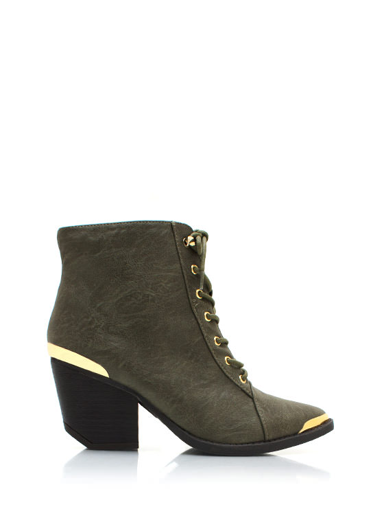 Metal Accent Victorian Ankle Boot OLIVE