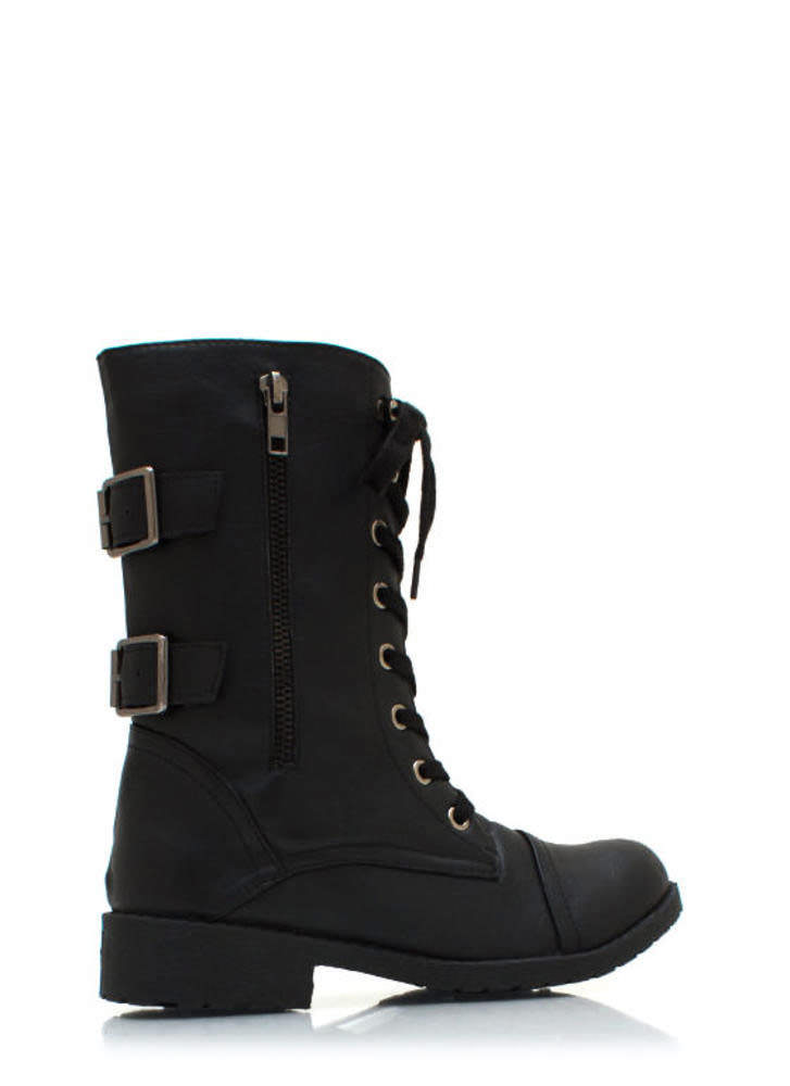 Buckle Back Combat Boots BLACK
