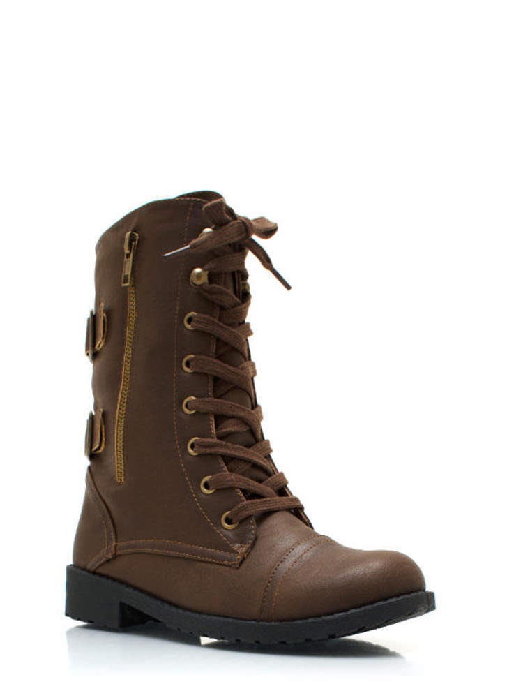 Buckle Back Combat Boots TAUPE (Final Sale)