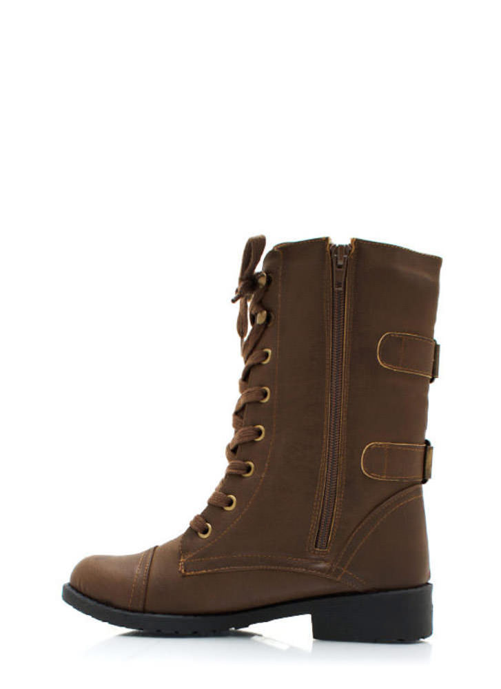Buckle Back Combat Boots TAUPE