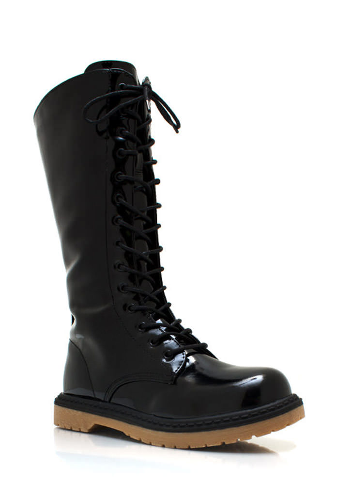 28 Eyelet So Slick Combat Boots BLACK