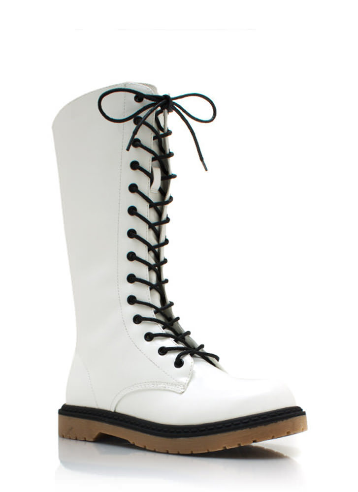 28 Eyelet So Slick Combat Boots WHITE