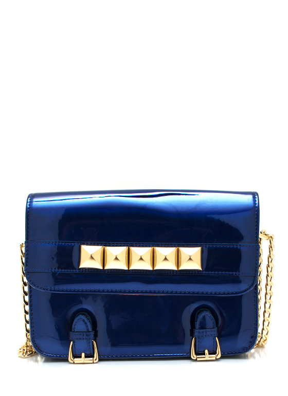 Studded And Buckled Clutch ROYALGOLD