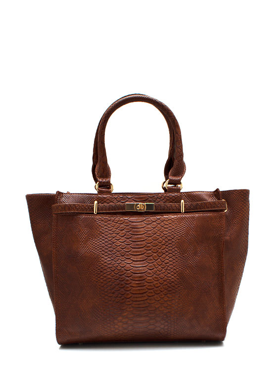 Cold Blooded Reptile Handbag BROWNGOLD