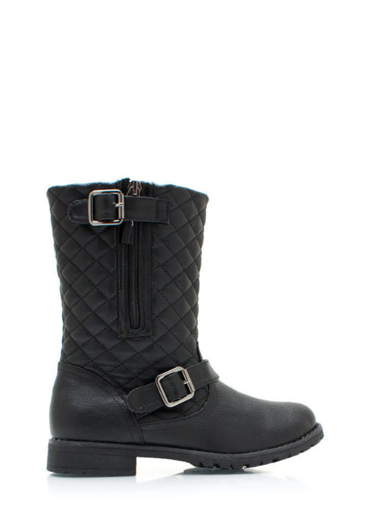Quite Quilted Low Rise Boots BLACK (Final Sale)