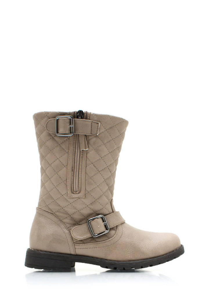Quite Quilted Low Rise Boots STONE (Final Sale)