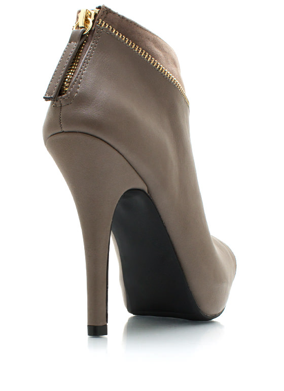 Zip Trip Peep Toe Booties TAUPE