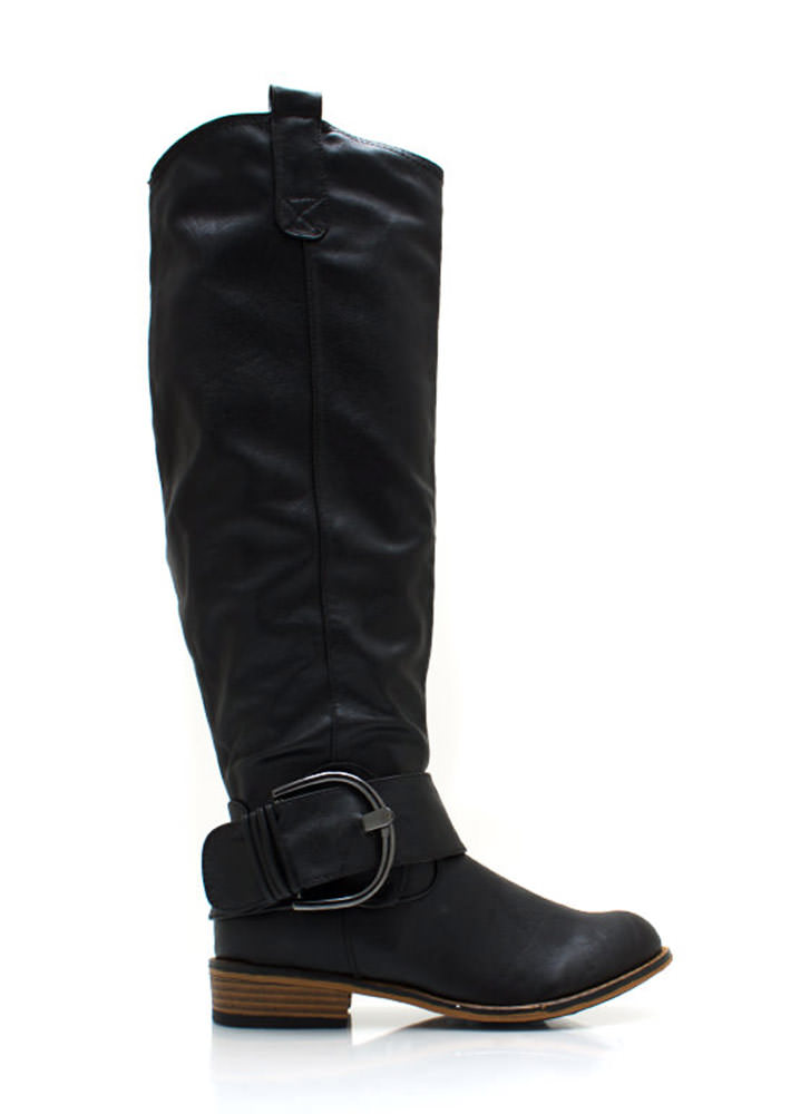 Big Deal Buckled Riding Boots BLACK (Final Sale)