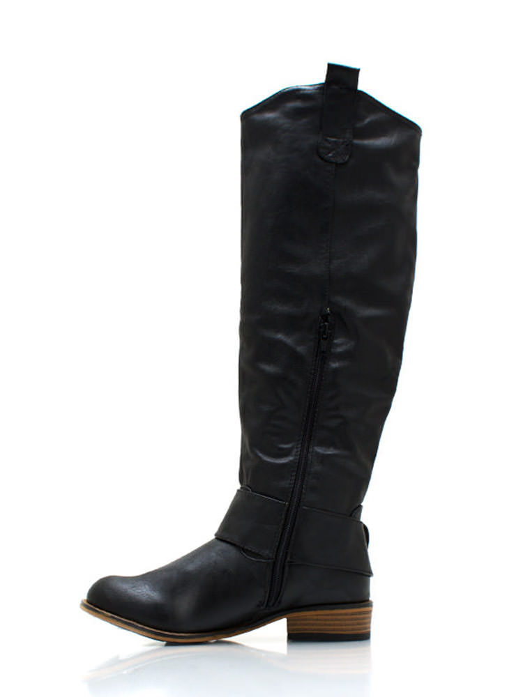 Big Deal Buckled Riding Boots BLACK