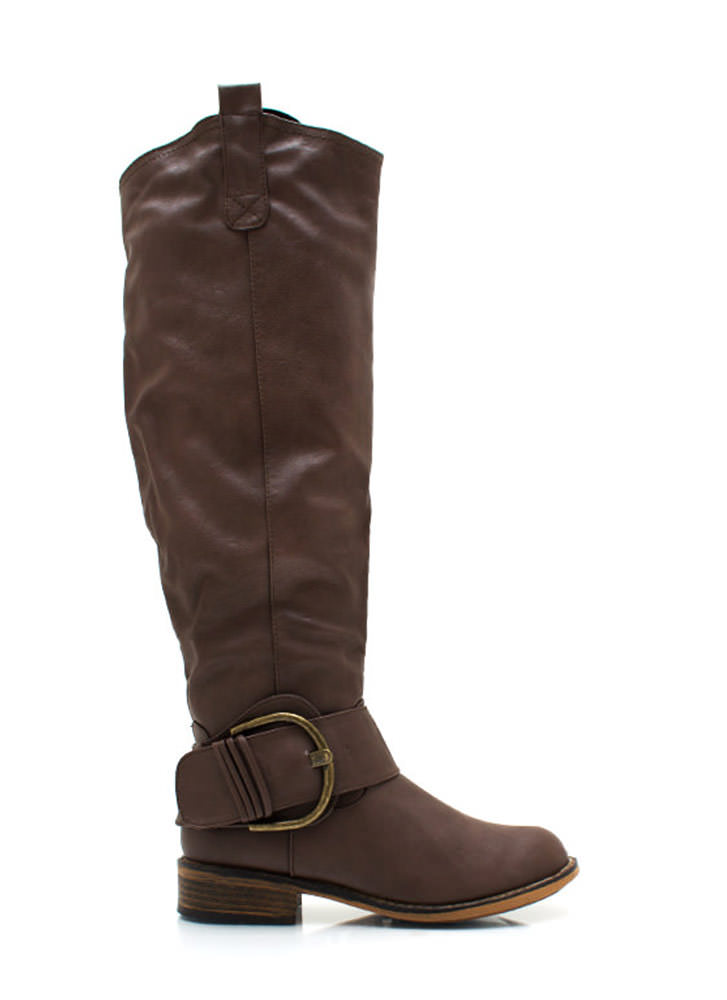 Big Deal Buckled Riding Boots BROWN (Final Sale)
