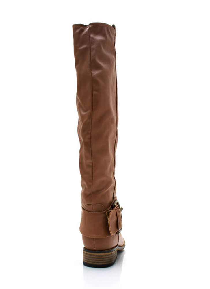 Big Deal Buckled Riding Boots CHESTNUT
